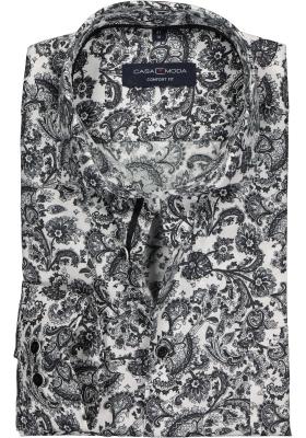 Casa Moda Comfort Fit overhemd, zwart-wit structuur dessin