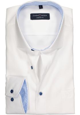 Casa Moda Comfort Fit overhemd, wit structuur (lichtblauw contrast)