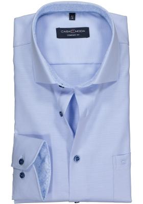 Casa Moda Comfort Fit overhemd, lichtblauw structuur (contrast)