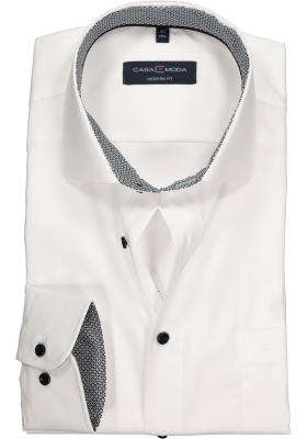 Casa Moda Modern Fit overhemd, wit (zwart contrast)