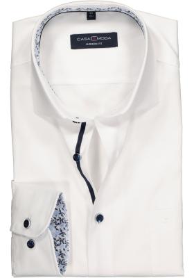 Casa Moda Modern Fit overhemd, wit structuur (blauw contrast)