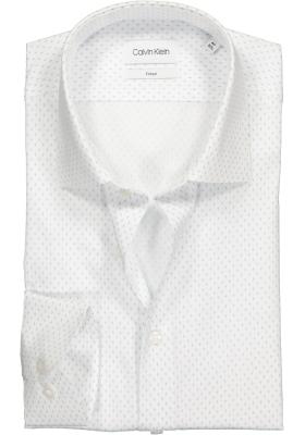 Calvin Klein Fitted overhemd, wit met lichtblauw dessin