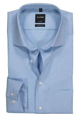 OLYMP Modern Fit overhemd, lichtblauw twill