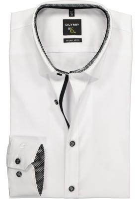 OLYMP No. 6 Six, Super Slim Fit overhemd, wit (zwart contrast)