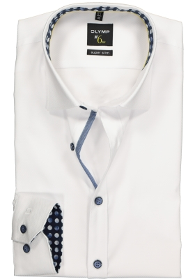 OLYMP No. 6 Six, Super Slim Fit overhemd, wit structuur (blauw contrast)