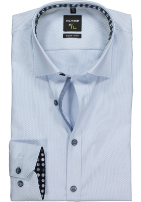 OLYMP No. 6 Six, Super Slim Fit overhemd mouwlengte 7, lichtblauw structuur (contrast)