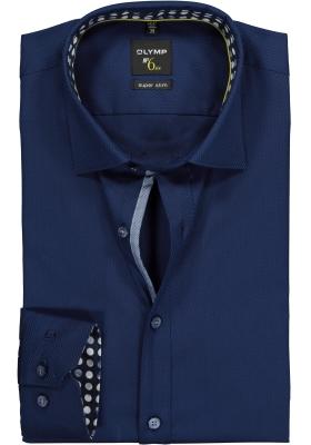 OLYMP No. 6 Six, Super Slim Fit overhemd mouwlengte 7, donkerblauw structuur (contrast)