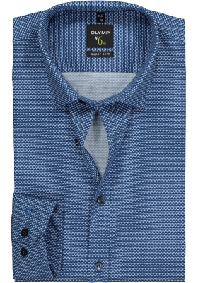 OLYMP No. 6 Six, Super Slim Fit overhemd, blauw dessin