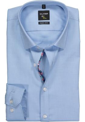 OLYMP No. 6 Six, Super Slim Fit overhemd, lichtblauw structuur
