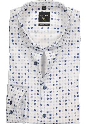 OLYMP No. 6 Six, Super Slim Fit overhemd, wit met blauw gestipt