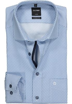 OLYMP Modern Fit overhemd, blauw mini dessin