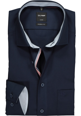 OLYMP Modern Fit overhemd, blauw (contrast)