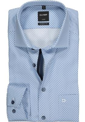 OLYMP Modern Fit overhemd mouwlengte 7, blauw mini dessin