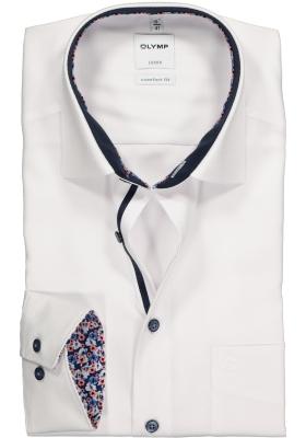 OLYMP Comfort Fit overhemd, wit structuur (contrast)