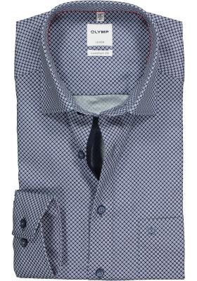 OLYMP Comfort Fit overhemd, blauw mini dessin
