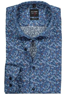 OLYMP Level 5 Body Fit overhemd, blauw mini bloem dessin