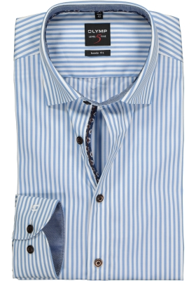 OLYMP Level 5 Body Fit overhemd, lichtblauw gestreept (contrast)