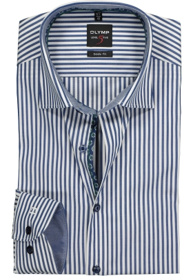 OLYMP Level 5 Body Fit overhemd, donkerblauw gestreept (contrast)