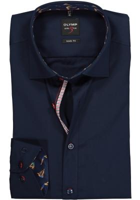 OLYMP Level 5 Body Fit overhemd, donkerblauw (schoonzwem contrast)