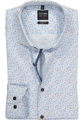 OLYMP Level 5 Body Fit overhemd, wit, lichtblauw en bruin paisley dessin
