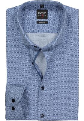 OLYMP Level 5 Body Fit overhemd, donkerblauw met wit mini dessin