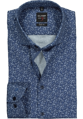 OLYMP Level 5 Body Fit mouwlengte 7, donkerblauw paisley dessin