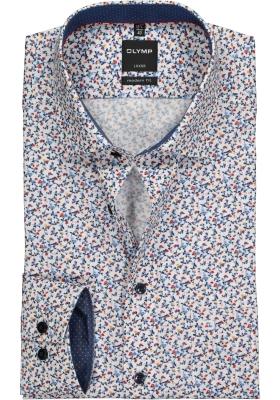 OLYMP Modern Fit overhemd, blauw, wit en rood dessin (contrast)