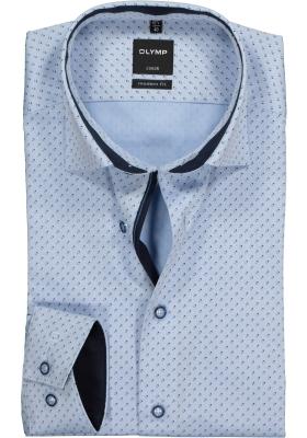 OLYMP Modern Fit overhemd, lichtblauw structuur met mini dessin (contrast)