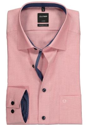 OLYMP Modern Fit overhemd, roze structuur (contrast)