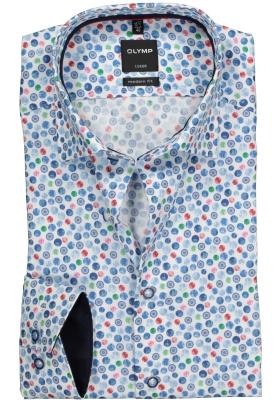 OLYMP Modern Fit overhemd, dessin structuur (contrast)