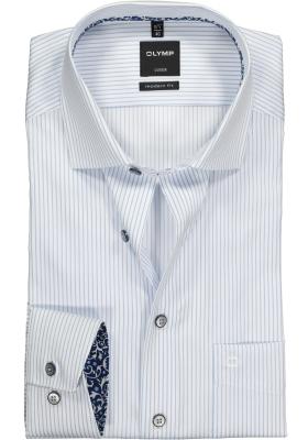 OLYMP Modern Fit overhemd, lichtblauw met wit gestreept (contrast)