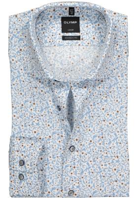 OLYMP Modern Fit overhemd, wit, lichtblauw en bruin dessin structuur