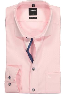 OLYMP Modern Fit overhemd, roze twill met ingeweven dessin (contrast)