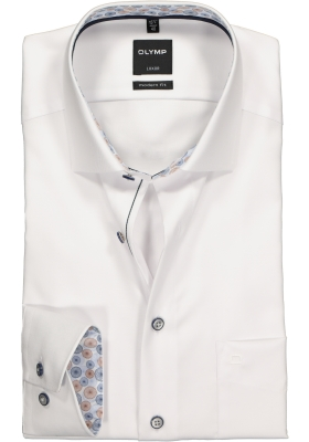 OLYMP Modern Fit overhemd, wit twill (contrast)