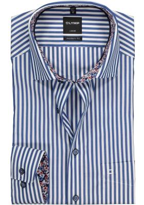 OLYMP Modern Fit overhemd, donkerblauw met wit gestreept (contrast)