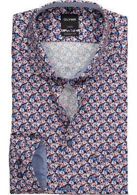 OLYMP Modern Fit overhemd, blauw en roze gebloemd (contrast)