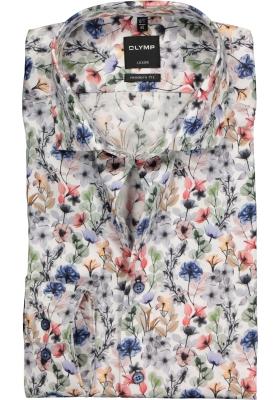 OLYMP Modern Fit overhemd, blauw, wit en rood gebloemd