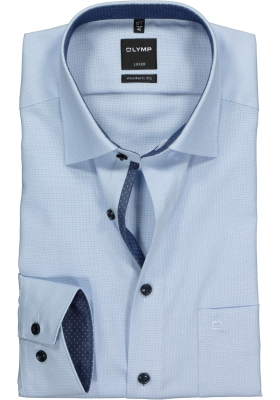 OLYMP Modern Fit overhemd mouwlengte 7, lichtblauw structuur (contrast)
