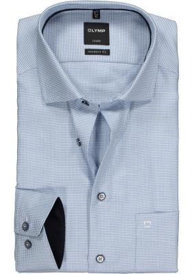 OLYMP Modern Fit overhemd mouwlengte 7, lichtblauw structuur met mini dessin (contrast)