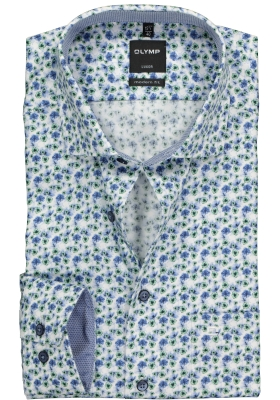 OLYMP Modern Fit overhemd mouwlengte 7, blauw en groen gebloemd (contrast)