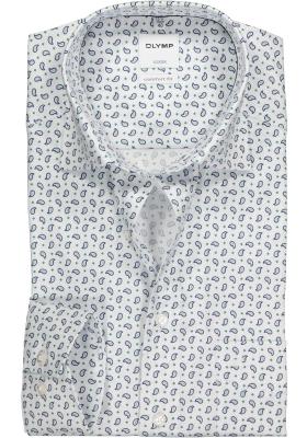 OLYMP Comfort Fit overhemd, wit, blauw met groen paisley dessin