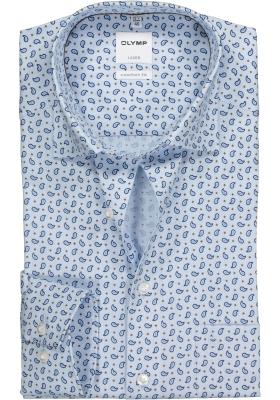 OLYMP Comfort Fit overhemd, blauw met bruin paisley dessin