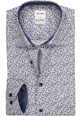 OLYMP Comfort Fit overhemd, blauw, wit en rood bloemetjes dessin (contrast)