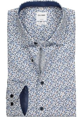 OLYMP Comfort Fit overhemd, blauw, wit en bruin dessin (contrast)
