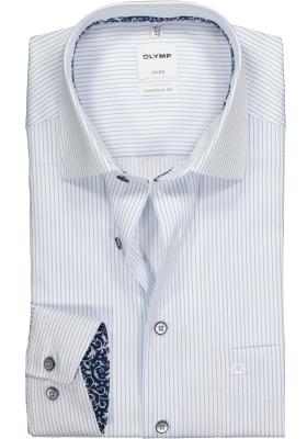 OLYMP Comfort Fit overhemd, lichtblauw met wit gestreept twill (contrast)