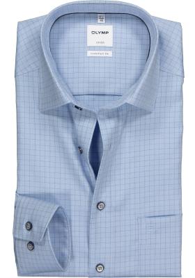 OLYMP Comfort Fit overhemd, lichtblauw twill geruit