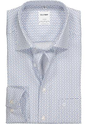 OLYMP Comfort Fit overhemd, lichtblauw structuur dessin