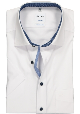OLYMP Tendenz Modern Fit overhemd korte mouw, wit (contrast)