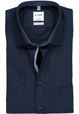 OLYMP Tendenz Modern Fit overhemd korte mouw, lichtblauw (contrast)