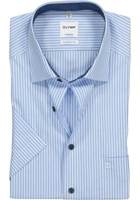 OLYMP Tendenz Modern Fit overhemd korte mouw, lichtblauw met wit gestreept (contrast)